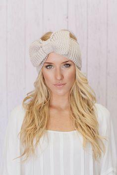 Knitted Bow Headband Ear Warmer