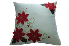 Decorative Christmas Poinsettias With Embroidery Design T...