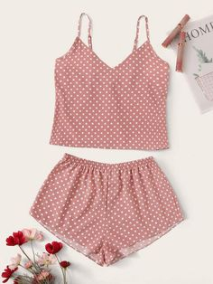 To find out about the Polka Dot Cami Pajama Set at SHEIN, part of our latest Pajama Sets ready to shop online today! Cute Sleepwear, Sleepwear Women, Pajamas Women, Cute Lazy Outfits, Casual Outfits, Cozy Pajamas, Pyjamas, Cute Pajama Sets, Pajama Outfits