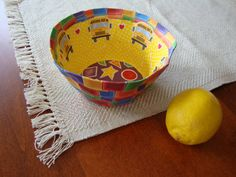 school bus bowl paper mache bowl by ContainedHappiness on Etsy