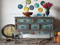 Gorgeous Teal Rustic Hand Painted Boho Table / by TheTurquoiseIris