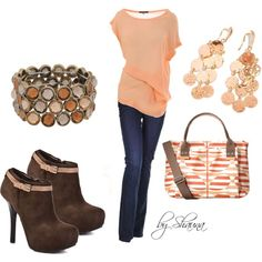 """apricot silk top with striped hand bag and killer booties"" by shauna-rogers on Polyvore"