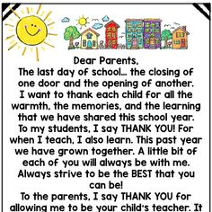 End of Year Memory Book letter to Students and Parents Kindergarten Graduation Speech, Graduation Poems, Graduation Message, Kindergarten Classroom, Teacher Poems, Message For Teacher, Student Teacher Gifts, Farewell Message To Students, Parent Letters From Teachers