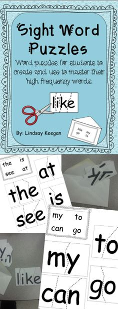 Sight Word Puzzles - Word work, center, homework fun