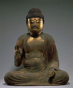 Seated Amida (Amitabha) with Raigo Mudra , Lacquered and gilt cypress wood, Late Heian Period (Mid-11th Century)  Kyoto National Museum . This Amida has gentle eyes and nose and smooth, orderly robes. Its hands are in the mudra (hand position) of raigo, welcoming spirits of the dead. This Amida was owned by Yakurin-ji Temple, in Kumiyama-cho, south of Kyoto. It was transferred to Sairinji Temple in 1871 (Meiji 4), and then to the Japanese government in 1971.