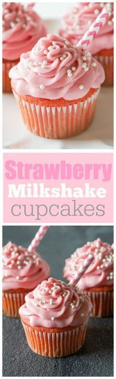 Cupcakes Strawberry Milkshake Cupcakes - bursting with strawberry flavor and so soft! the-girl-who-ate-Strawberry Milkshake Cupcakes - bursting with strawberry flavor and so soft! the-girl-who-ate- Milkshake Cupcakes, Strawberry Milkshake, Yummy Cupcakes, Strawberry Cupcakes, Pink Cupcakes, Baking Recipes Cupcakes, Flavored Cupcakes, Cupcakes Kids, Baby Shower Cupcakes For Girls