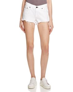 rag & bone/JEAN Cutoff Denim Shorts in White Women - Bloomingdale's Denim Cutoff Shorts, White Denim Shorts, Cut Off Jeans, White Women, Short Skirts, Clothes, Outfits, Shopping, White White