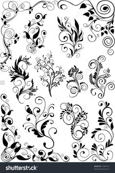 Find Floral Design Elements stock images in HD and millions of other royalty-free stock photos, illustrations and vectors in the Shutterstock collection. Swirl Nail Art, Diy Paper, Paper Crafts, Non Woven Bags, Colour Pattern, Woodburning, Swirls, Design Elements, Stencils