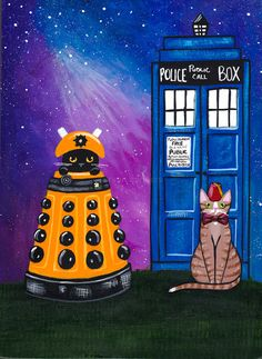 The Doctor and The Dalek Original CAT Folk Art Painting by KilkennycatArt