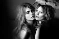 Burberry shot by Mario Testino with Kate Moss & Cara Delevine