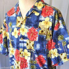 "Surfer Palms Tapa Hawaiian Shirt XL Quiksilver USA ""Silver Edition"" Watercolor Pastel"