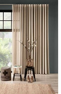 Nice pleats for curtain Wave Curtains, Curtains With Blinds, Sheer Curtains, Curtain Rails, Exposed Brick Fireplaces, Curtain Headings, Curtain Styles, Dark Interiors, Patio Doors