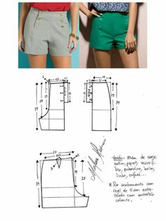 Hot pants pattern Shorts navy military button front retro vThis Pin was discovered by KerSh ort com botão Plus Size Sewing Patterns, Dress Sewing Patterns, Clothing Patterns, Sewing Clothes Women, Diy Clothes, Clothes For Women, Fashion Sewing, Diy Fashion, Costura Fashion