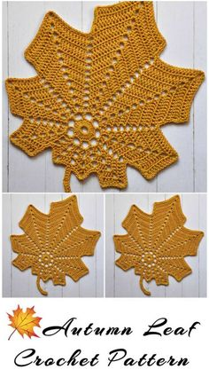 Click the image to get your Crochet Autumn Leaf Doily Pattern! Crochet Leaf Patterns, Halloween Crochet Patterns, Crochet Doily Diagram, Crochet Lace Edging, Crochet Leaves, Crochet Flowers, Thanksgiving Crochet, Crochet Fall, Holiday Crochet