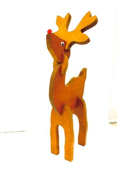 Vintage Rudolf The Red Nose Reindeer Wooden Christmas Decoration