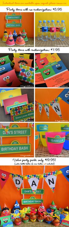 Sesame Street Birthday Party Printables With by Tinyprintables, $19.95