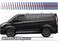 The stripes will also fit all Transit Transit Custom, Martini Racing, Car Colors, Racing Stripes, Ford Transit, Inkjet Printer, Car Wrap, Car Decals, Vespa