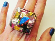 Confetti Resin Square Ring / Holographic Resin by KandiKookiez, $20.00