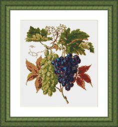 """Hello Everyone, are you looking for a nice decor for your dining room? Or do you have a wine cellar? This vintage looking cross stitch pattern is perfect for you. """"Grapes"""" Visit Here: http://etsy.me/1LV3xcS Design Size: 7.50 x 8.44 inches or 19.05 x 21.43 cm (120 x 135 Stitches) Number of Colours: 17 DMC"""