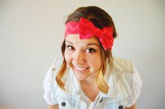 Chevron head wrap - Valentines day head wrap - pink and red - wide stretch headband with bow