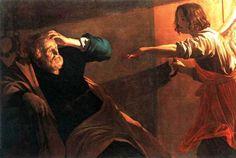 El apóstol Pedro, encarcelado en Jerusalén por el rey Herodes Agripa, es liberado milagrosamente por un ángel del Señor. Pintura por Rembrandt.