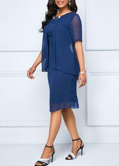 Navy Shorts, Sheath Dress, Dresses For Sale, Cold Shoulder Dress, Short Sleeves, Chiffon, Stuff To Buy, Fashion, Moda