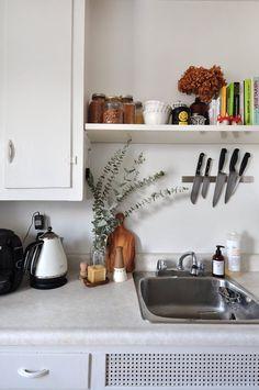 magnetic knives  cookbooks over sink  extra shelf  eucalyptus