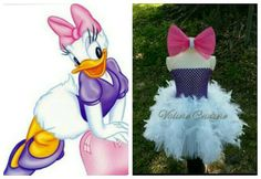 Check out this item in my Etsy shop https://www.etsy.com/listing/232654951/purple-daisy-duck-inspired-tutu-feather