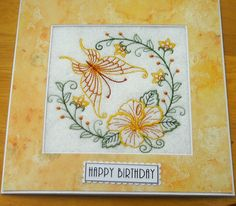complete embroidered Birthday card Beautiful Butterfly and Hibiscus
