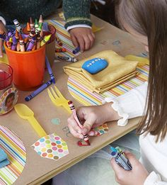 Craft paper is perfect as a table topper (kids can color on it), to wrap presents (decorate with stamps, stickers, drawings, then spruce up with colorful ribbon), or you can put a big piece on the wall and allow your little artist to create a big mural!