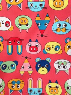 #cuteanimals #printedcanvas #panda #pig #fox #rabbit #cartoon #color #coral   Printed Canvas from Mill End Store   www.millendstore.com