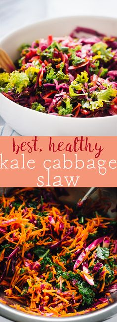 This is the best Kale Cabbage Slaw you'll ever try! It's healthy, just 5 minutes of prep and goes well with everything! via http://jessicainthekitchen.com