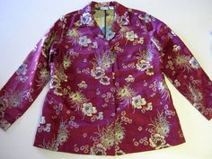 Chicos Blazer Jacket Size 2 or L Large Tapestry Burgundy LS Long Sleeve #Chicos #Blazer