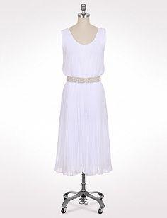 Pleated Crystal Belt Dress