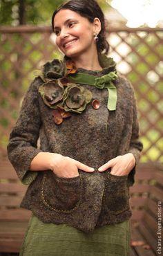 Верхняя одежда ручной работы. Весна в Париже (зелень). Irena Levkovich. Ярмарка Мастеров. Трапеция, свободное пальто, romney fleece