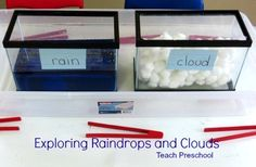 The weather helper informed us that today's weather was definitely going to be cold and rainy making it a perfect day to explore raindrops and clouds at our sensory table.