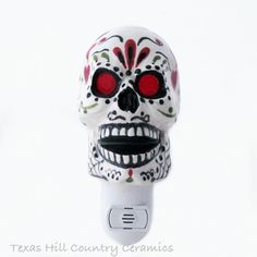 Sugar Skull Night Light with Day of the Dead by TexasCeramics