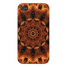 Flame Sunflower, Abstract Orange Fire Flower Cover For iPhone 4