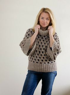 Very nice kimono style #crochet #pullover by Outstanding Crochet: Crochet&Knit Pullover. No pattern, (yet)