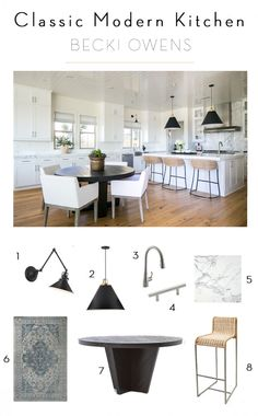 BECKI OWENS- Estillo Project: Classic Modern Kitchen. A white kitchen with statuary marble, Benjamin Moore Swiss Coffee paint and black accents. Get the look on beckiowens.com!!