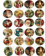 """Vintage Christmas Santa round glossy stickers 1.5"""" and 2"""""""