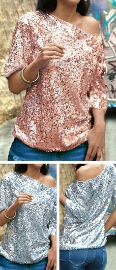 Half Sleeve Sequins Decorated Rose Pink T Shirt, free shipping worldwide and better service.