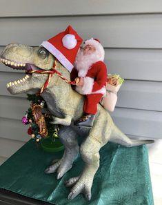We ended up making Santa riding a T-Rex! Christmas Hanukkah, Christmas Greetings, Christmas Holidays, Christmas Ornaments, Dinosaur Christmas Decorations, Xmas Decorations, Christmas Projects, Holiday Crafts, Holiday Fun