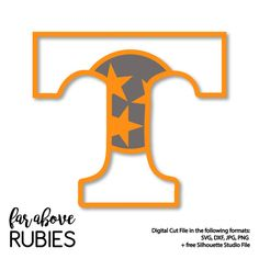 Tennessee T with Tri-star pattern background - SVG, DXF, png, jpg digital cut file for Silhouette or Cricut