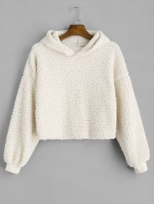 50% OFF  2018 Drop Shoulder Fluffy Boxy Hoodie In COFFEE M  7c468d52d