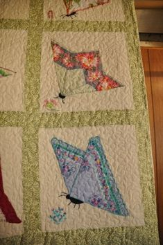 contemporary butterfly quilt, Jane Gingles, made from hankies