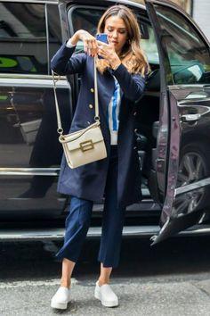 Jessica Alba wearing Vince Warren Leather Sneakers and Roger Vivier Miss Viv Carre Small Leather Shoulder Bag
