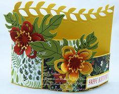 http://www.nicolejuliewilson.blogspot.com.au/ Bendy Card sneak Peak Stampin' Up! Occasions Catalogue 2016 Using new Botanical Gardens bundle Cajun Craze, Old Olive, Hello Honey www.facebook.com/NicoleWilsonStamp