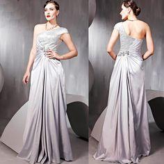 Silver Sequin Grey Gray One Shoulder Ball Gown Evening Dress Shops SKU-122242