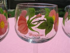 """Franciscan """"Desert Rose"""" 12 ounces glasses Set of four I just listed on ebay. Great find.  So bright and pretty for setting at the table."""